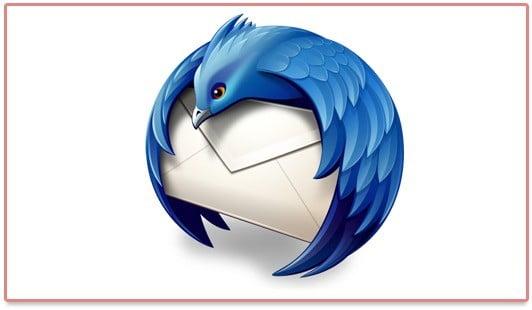 Le logo de Mozilla Thunderbird 5.0 qui présente un menu transparent