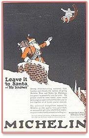 Publicité du Père Noël par l'entreprise Michelin