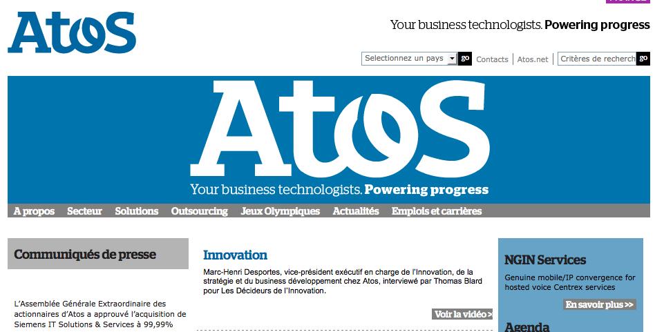 Page d'accueil du site internet d'Atos