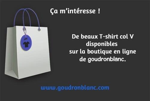 Boutique en ligne de T-shirt col V pour homme - GoudronBlanc